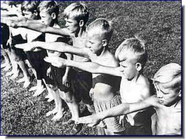 """In all German schools it is officially taught that """"non-Aryans"""" are racially inferior. Jewish children are prohibited from participating in """"Aryan"""" sports clubs, school orchestras, and other extracurricular activities. Jewish children are banned from play"""