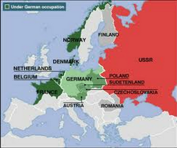 The German army invades and defeats Denmark, Norway, Belgium, Luxembourg, the Netherlands, and France.
