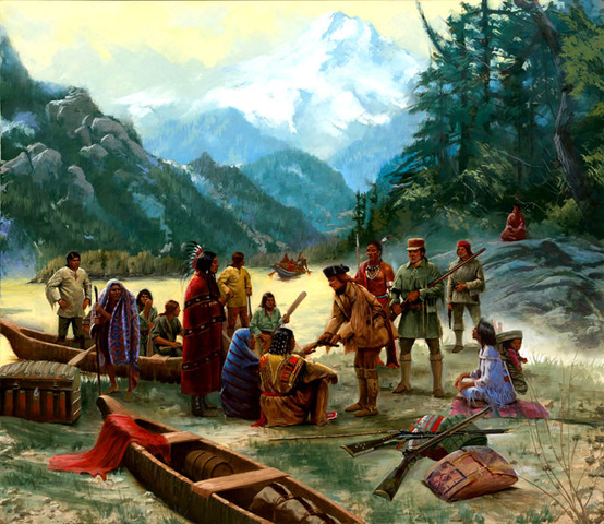 The Corps peacefully meets with and exchanges goods with Zottoe indians