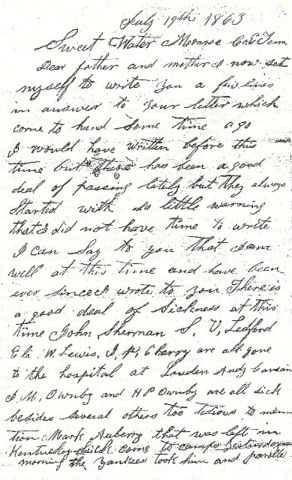 Letter to his wife on March 8 1864