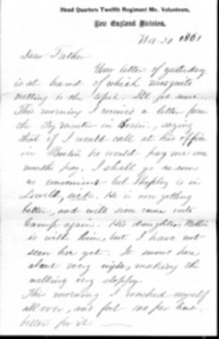 Letter to his wife on April 5 1864
