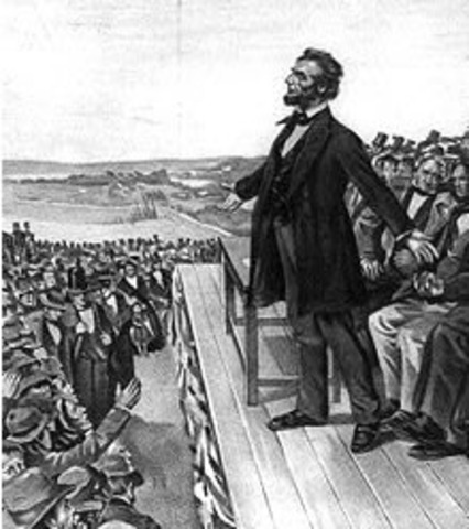 Lincoln delivers Gettysburg Adress