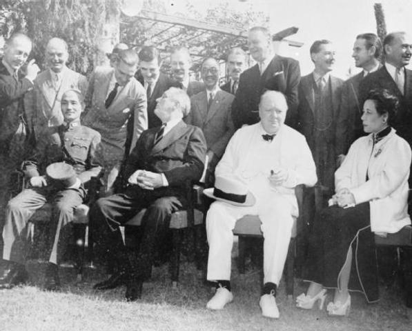 Roosevelt, Churchill, & Chiang Kai Shek meet at the Cairo Conference