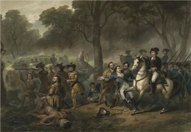 Braddock gets shot and loses the battle of Monongahela