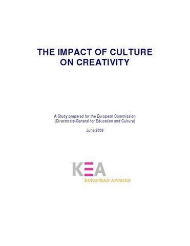 """Rapport de KEA pour l'Union européenne """"The impact of culture on creativity"""""""