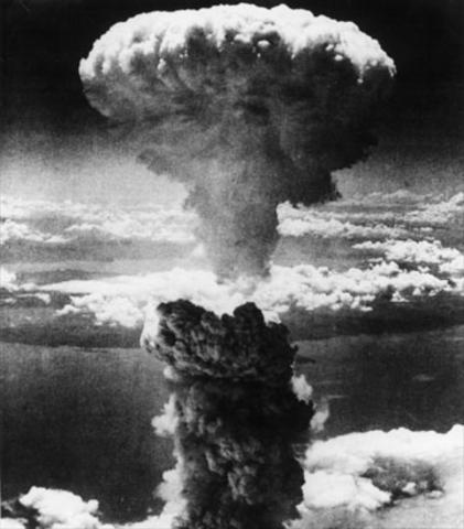 An atomic bomb in  Hiroshima.