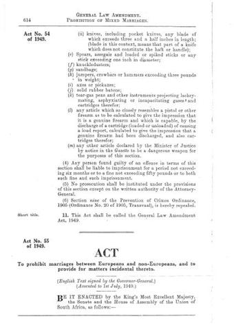 Prohibition of Mixed Marriages Act