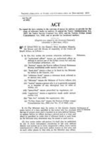 Natives Abolition of Passes and Coordiantion of Documents Act
