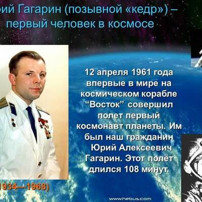 Дорога Юрия Гагарина в Космос timeline