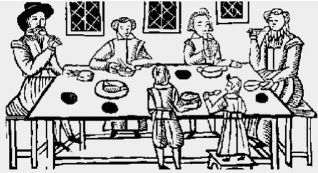 Familia isabelina en una cena