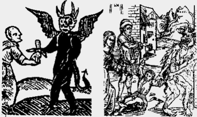 Padres malos dándole sus hijos al diablo