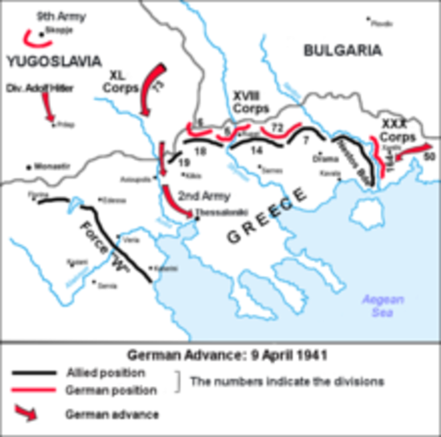 The German army invades Yugoslavia and Greece