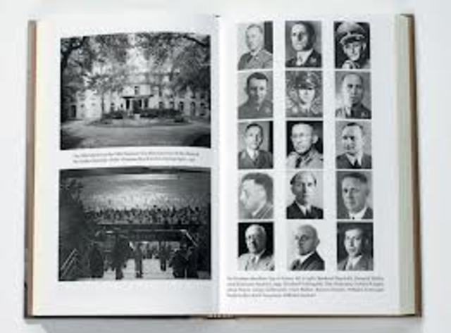 """Fifteen Nazi and government leaders meet at Wannsee, a section of Berlin, to discuss the """"final solution to the Jewish question""""."""