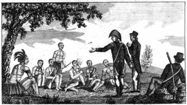 The first official council between representatives of United States and western Indians.