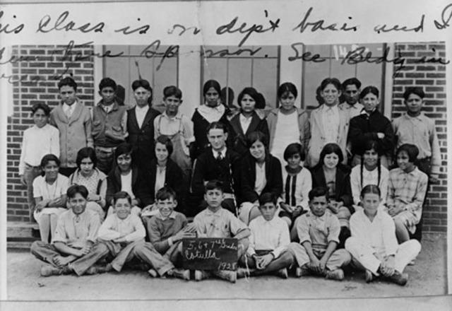 Lyndon B. Johnson Teaches a class of Latino Children