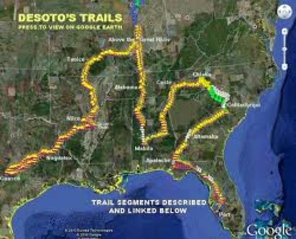Hernando De Soto explores Florida and Mississippi