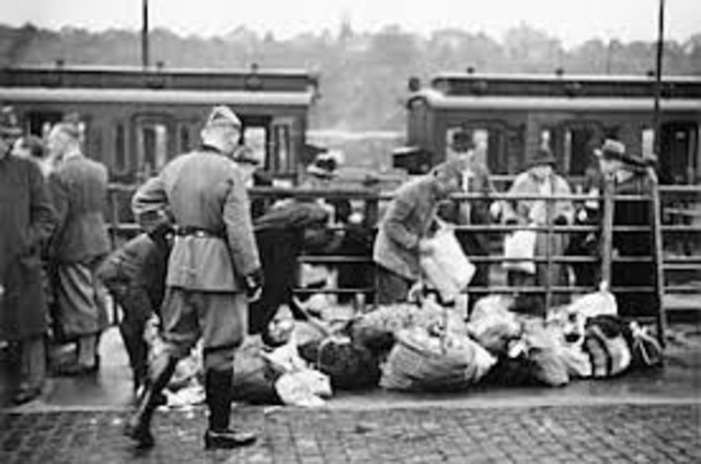All Jews in concentration camps in Germany are sent to death camp at Auschwitz.