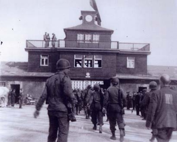 Troops from the United States liberate survivors from the Buchenwald and Dachau concentration camps.