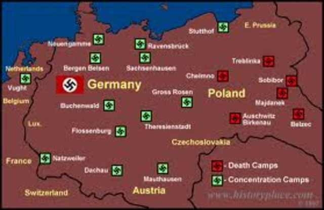 "Nazi ""extermination"" camps located in occupied Poland at Auschwitz, Birkenau, Treblinka, Sobibor, Belzec, and Majdanek-Lublin begins mass murder of Jews in gas chambers"