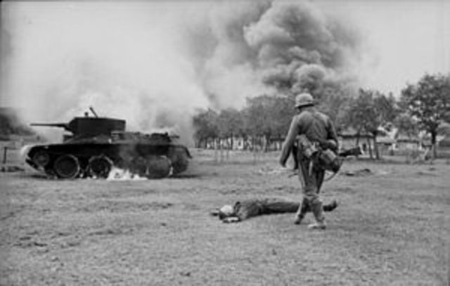 The German army invades the Soviet Union. The Einsatzgruppen, mobile killing squads, begin the mass murders of Jews, Gypsies, and Communist leaders.