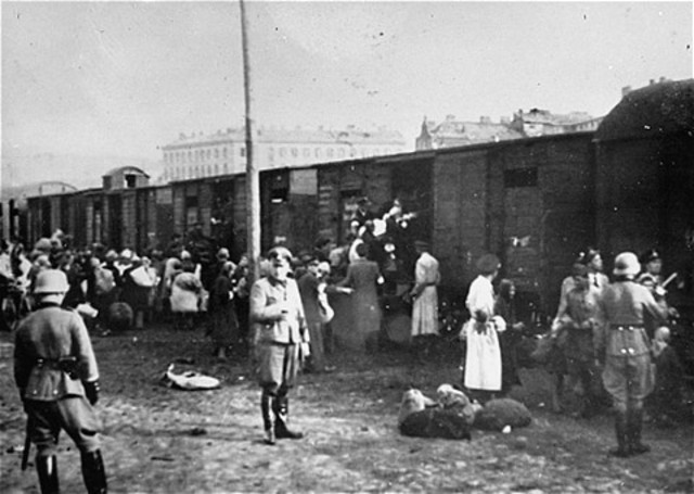 Jews in the Warsaw ghetto initiate resistance to deportation by the Germans to the death camps.