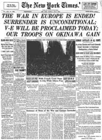Germany surrenders and war in Europe is ended.