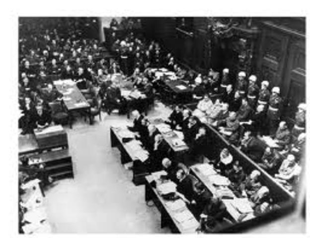 The war crimes tribunal is convened at Nuremberg, Germany.