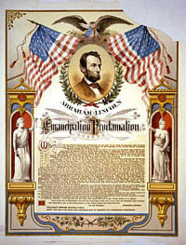 Lincoln issues proclamation to free slaves.
