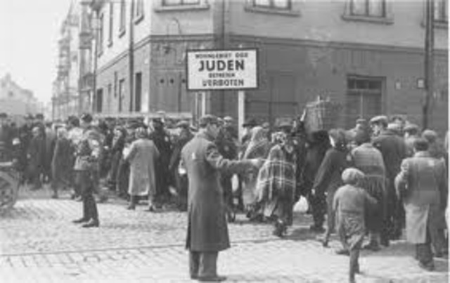 First group of German and Austrian Jews are deported to ghettos in eastern Europe.