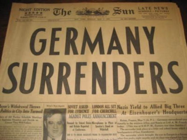 Germany surenders and war in Europe is ended.