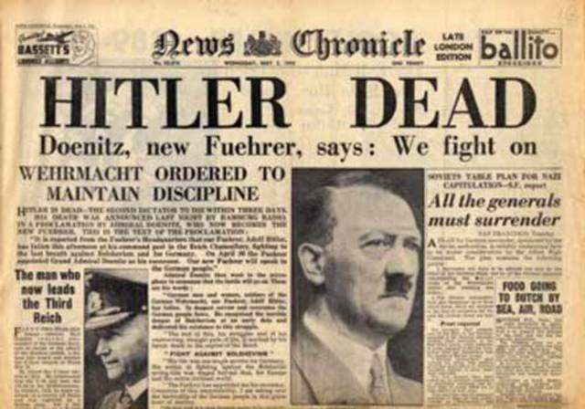 Adolph Hitler commits suicide in his bunker in Berlin rather than be cuaght by the advancing Soviet army