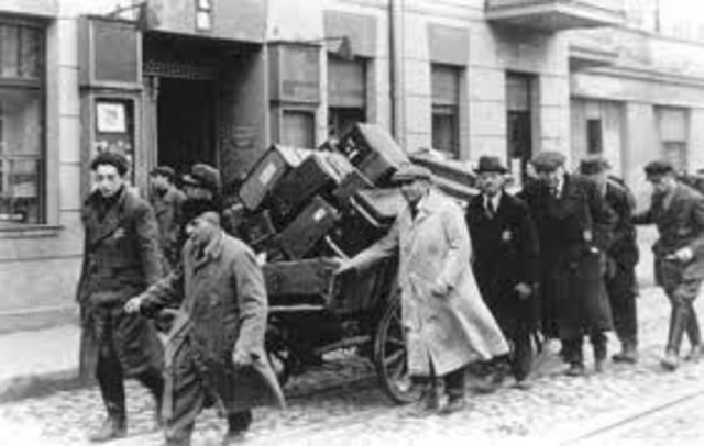 First group of German and Austrian Jews are deported to ghettos in eastern Europe