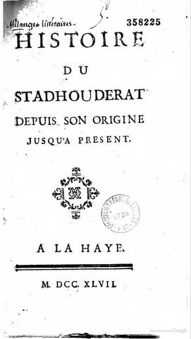 Publication de l'Histoire du Stathoudérat