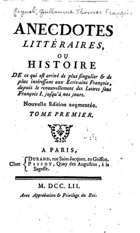 Publication des Anecdotes littéraires