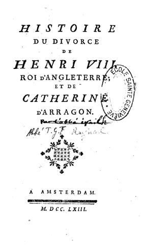 Publication de l'Histoire du divorce d'Henry VIII