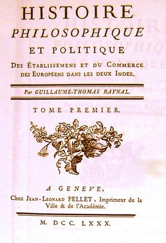 Genève, impression de la troisième édition de l'Histoire des deux Indes
