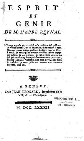 Parution de Esprit et génie de M. l'abbé Raynal.