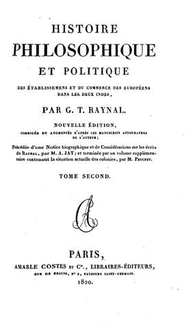 Parution de l'édition posthume de l'Histoire des deux Indes