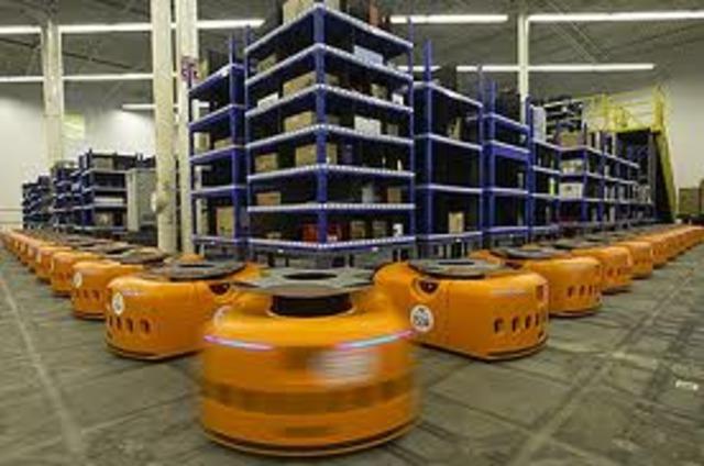 Kiva Robots fill orders.