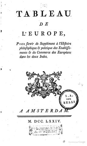 Parution de Tableau de l'Europe
