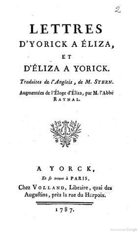 Parution des Lettres d'Yorick à Eliza