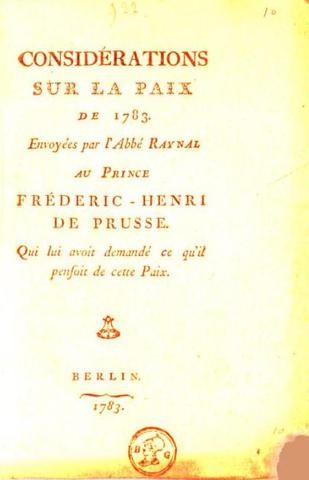 Parution des Considérations sur la paix de 1783