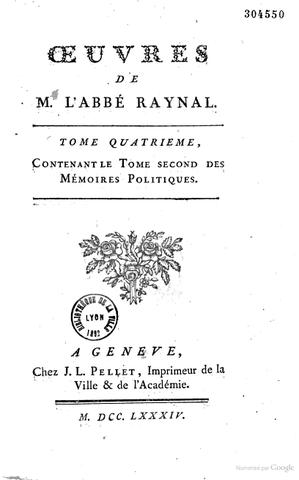 Parution des Oeuvres de M. L'Abbé Raynal