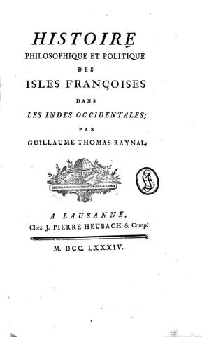 Parution de l'Histoire philosophique et politique des isles françaises dans les Indes occidentales