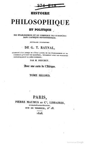 Parution de l'Histoire philosophique et politique des établissemens et du commerce des européens dans l'Afrique septentrionale
