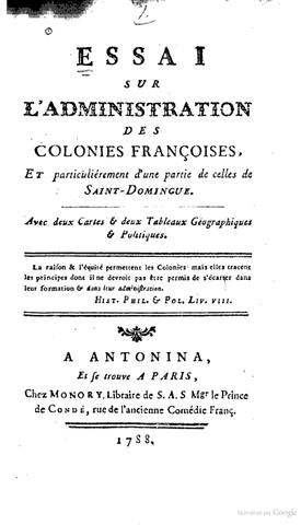 Parution de Essai sur l'administration de Saint Domingue