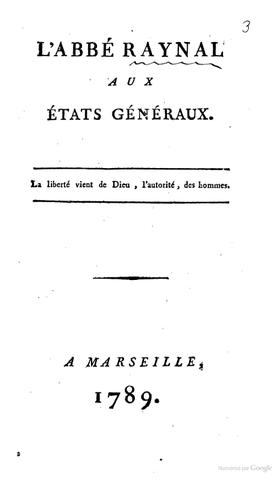 Parution de L' abbé Raynal aux États Généraux