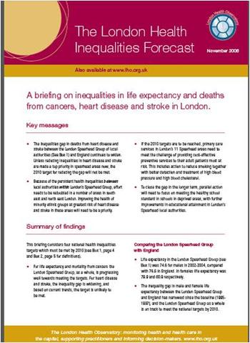 London health inequalities forecast