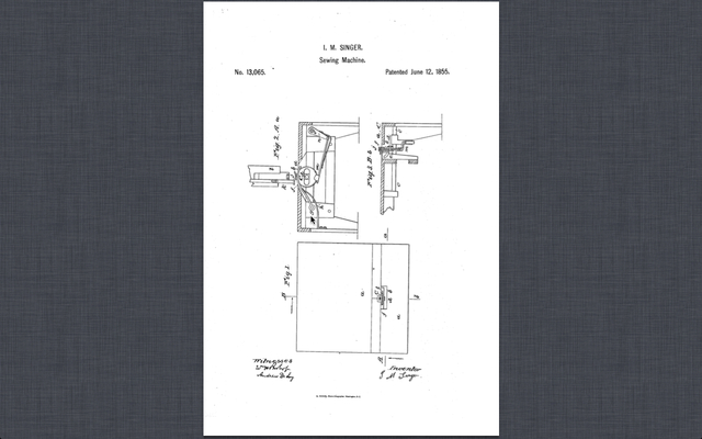 Singer receives a patent for improved sewing machine