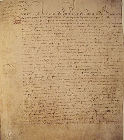 France suggests to the Huguenots the Edict of Nantes